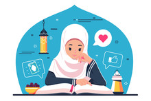 Islamic Girl Character Reading...