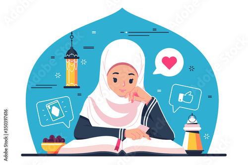 Obraz Islamic Girl character reading Quran - fototapety do salonu