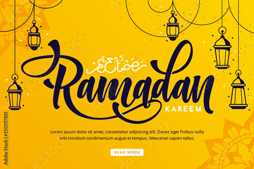 Obraz Ramadan kareem lettering background - fototapety do salonu