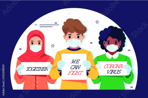 Obraz Together we can fight corona virus - fototapety do salonu