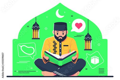 Obraz Islamic character reading Quran - fototapety do salonu