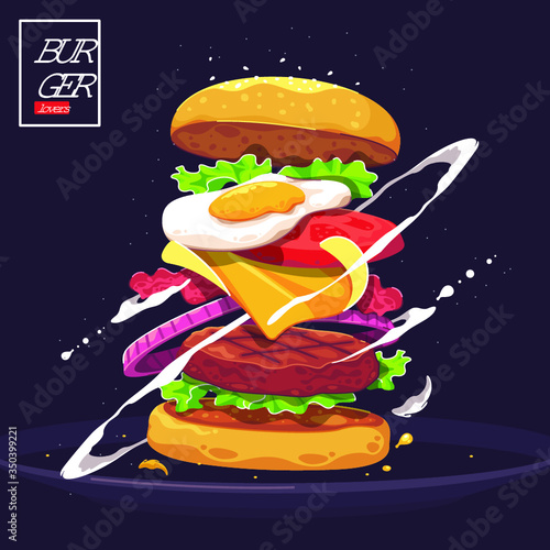 Delicious burger vector illustration - 350399221