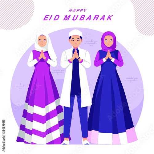 Happy eid mubarak illustration greeting card - 350399415