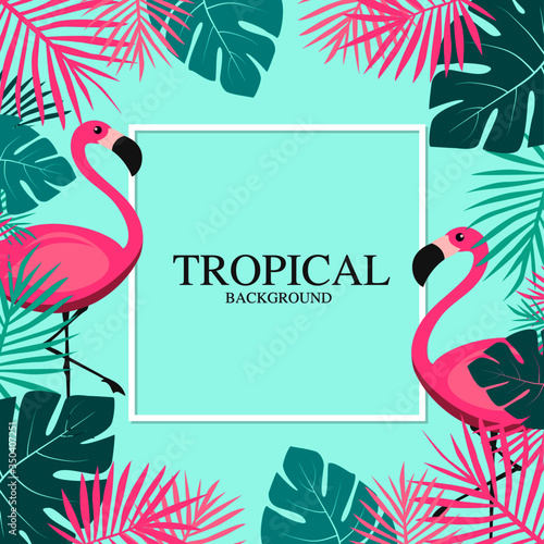 Tropical Summer with pink flamingos and Palm Leaves Banner Canvas Print