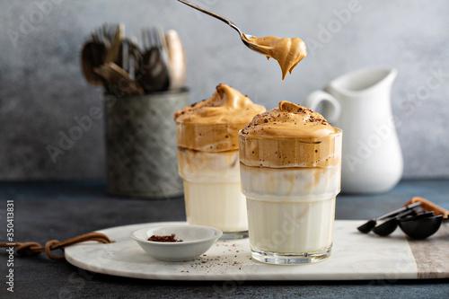 Obraz na plátně Dalgona coffee or whipped instant coffee