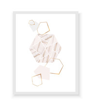 Geometric Background With Agate Texture Hexagon, Gold Diamonds And Triangles.