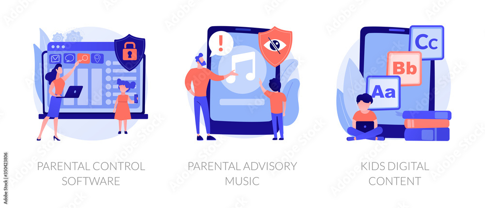 Fototapeta Prohibited content, access restrict. Educational lesson for children. Parental control software, parental advisory music, kids digital content metaphors. Vector isolated concept metaphor illustrations