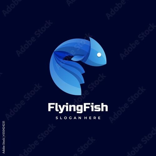 Fotografía Vector Logo Illustration Flying Fish Gradient Colorful Style.