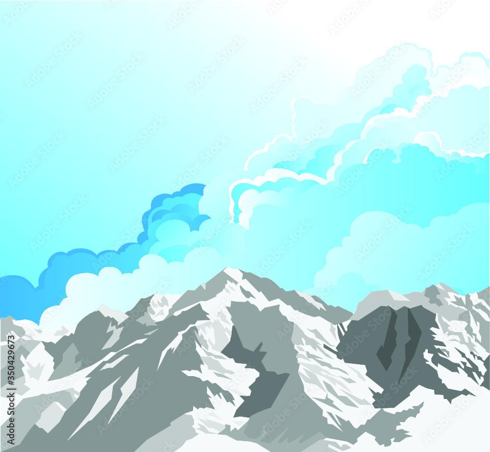 Fototapeta Snow capped mountain range scene with cloudy blue sky