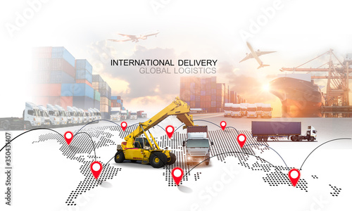 Obraz Logistics international delivery concept, World map with logistic network distribution on background.background for Concept of fast or instant shipping, Online goods orders worldwide - fototapety do salonu