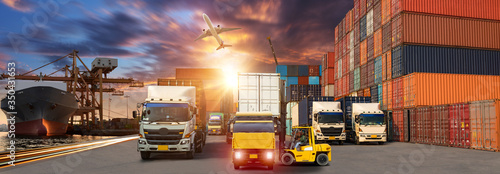 Fototapeta Logistics import export background and transport industry of Container Cargo freight ship and Cargo plane background, Truck transport container on the road to the port obraz
