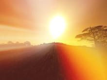Bright Sun Shining Over Field