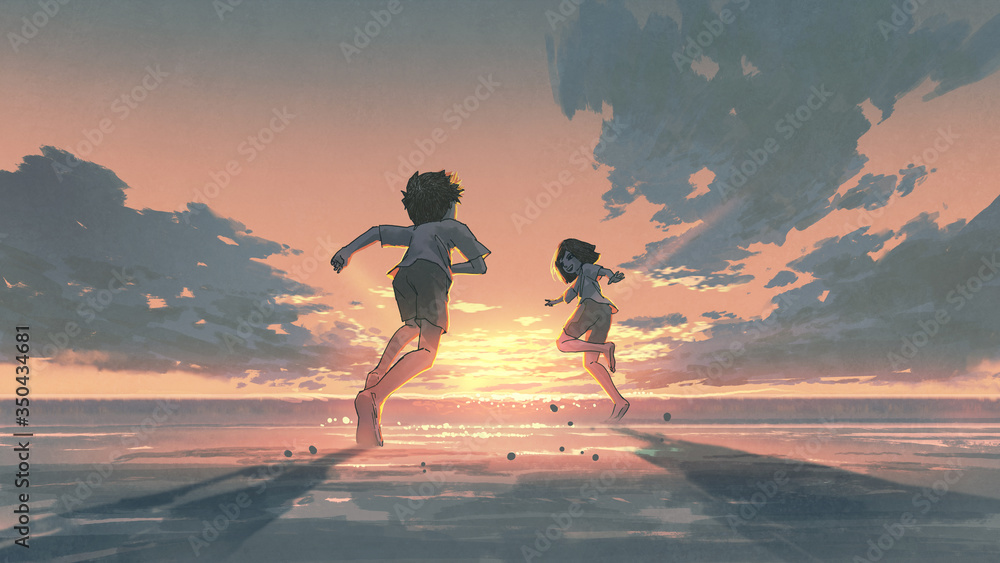 Fototapeta boy and girl running on the beach to see the sunrise on the horizon, digital art style, illustration painting