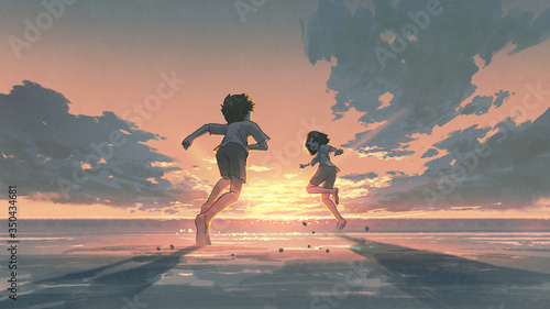 boy and girl running on the beach to see the sunrise on the horizon, digital art style, illustration painting