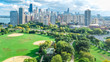 Chicago skyline aerial drone view from above, lake Michigan and city of Chicago downtown skyscrapers cityscape bird's view from park, Illinois, USA