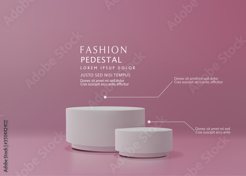 Obraz Vector pink minimal scene , podiumfor cosmetic product presentation. Abstract background with geometric podium platform in pastel colors. Template for design, presentation, advertisement.3d rendered. - fototapety do salonu