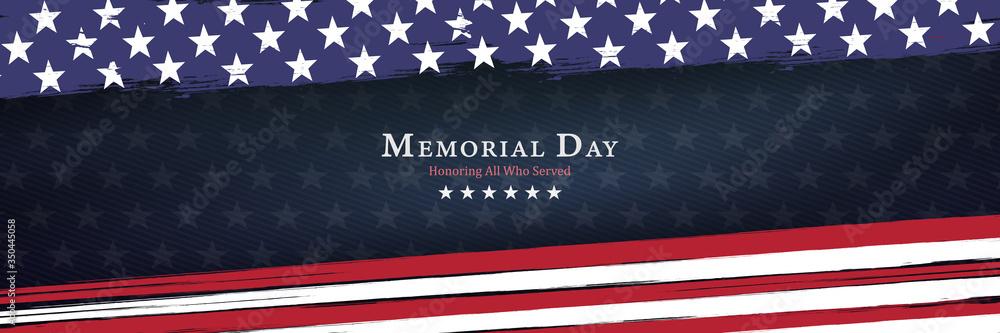 Fototapeta Memorial Day background vector illustration - honoring all who served