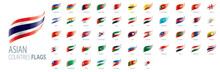 National Flags Of Asian Countries. Vector Illustrations