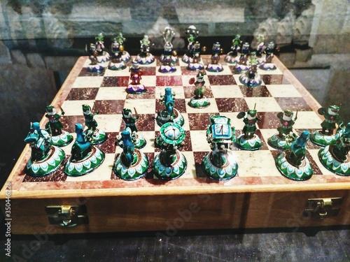 High Angle View Of Chess On Table Fototapeta
