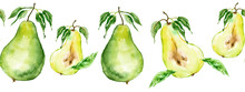 Seamless Watercolor Pattern With A Picture Of A Pear Fruit. Apply In The Field Of Design, Packaging, Textile And Other. Portion Of Pear, Lobule, Cut. Fruit With A Leaf. Garden Pears, Harvest. Line