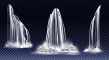 Waterfalls Isolated On Transparent Background. Vector Realistic River Water Fall With Cascade, Splash, Fog And Rocks. Set Of Liquid Streams, Flow Of Pure Aqua, Shower Or Rain