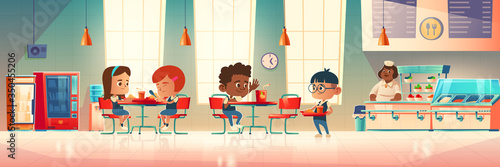 Obraz Children eat in school canteen. Vector cartoon illustration of cafeteria interior with tables, chairs, vending machine, water cooler, kids with food trays and staff at counter bar - fototapety do salonu