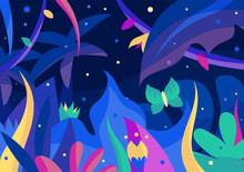 Beautiful Night Jungle Postcar...