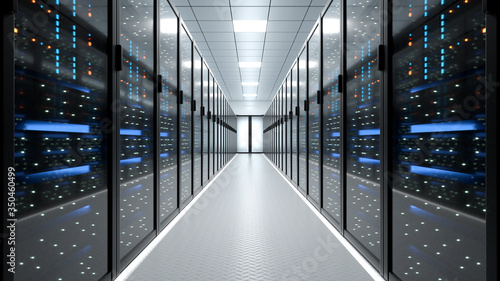 Obraz Working Data Center Full of Rack Servers and Supercomputers, Modern Telecommunications, Artificial Intelligence, Supercomputer Technology Concept.3d rendering,conceptual image. - fototapety do salonu