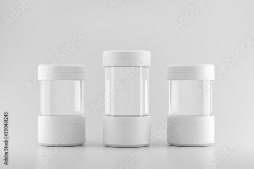 Tela Modern pedestal or three test tube podium stand on blank product background with lab concept