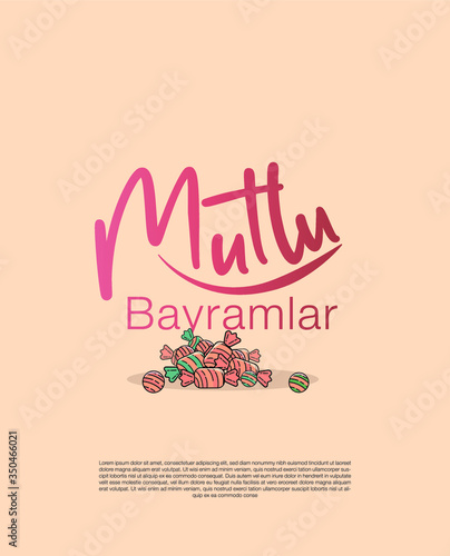 Photo illustration of colorful candies and a message for wishing a happy ramadan feast