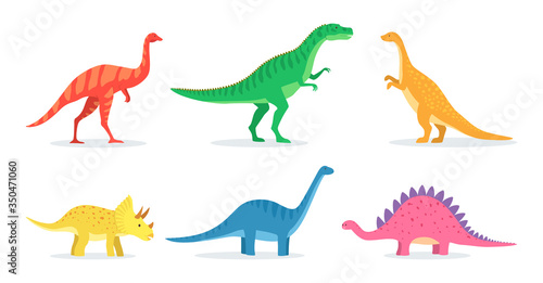 Obraz Dinosaurs toys for baby flat icon set. Cute cartoon dino for children learning isolated vector illustration collection. Education and prehistoric reptiles concept - fototapety do salonu