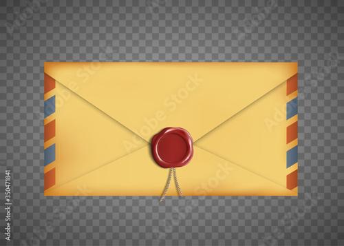 Cuadros en Lienzo Old vintage closed envelope with a wax seal