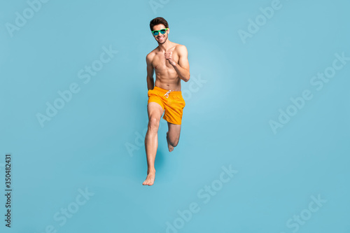 Fotomural Full length body size view of his he nice attractive cheerful purposeful guy in
