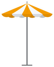 Big Orange Striped Market Summer Outdoor Umbrella Isolated On White Background. Parasol Beach Protection Form Sun And Rain Flat Vector Illustration