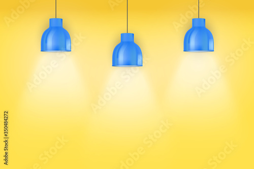Interior of yellow wall with blue vintage pedant lamps Fototapeta