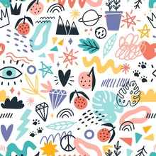 Colorful Various Plants, Symbols And Doodle Design Elements Seamless Pattern Vector Flat Illustration. Bright Different Hand Drawn Fruit, Heart, Star, Eye And Trendy Curve On White Background