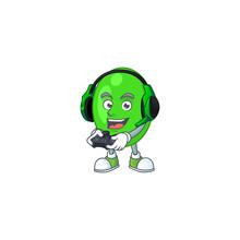 A Cartoon Design Of Tetrad Clever Gamer Play Wearing Headphone