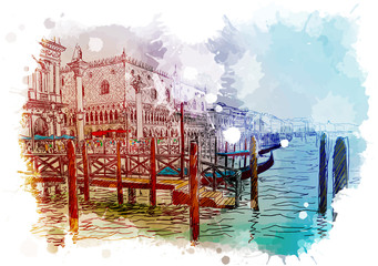 Fototapeta Wenecja Boat Pier on the Grand Canal. Piazza San Marco with Doge's Palace on a background. Veniece, Italy. Vintage design. Linear sketch on a watercolor textured background. EPS10 vector illustration