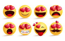 Smileys Emoji With Love Hearts...