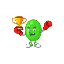 Proudly Face Of Boxing Winner Tetrad Cartoon Character Design