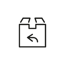 Line Icon Of Cardboard Box With Arrow. Pick-up Point, Distribution Center, Product Return. Delivery Concept. Can Be Used For Topics Like Post Office, Business, Shipping