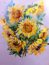 Abstract Bright Colored Decorative Background . Floral Pattern Handmade . Beautiful Tender Romantic Bouquet Of Summer  Sunflowers , Made In The Technique Of Watercolors From Nature.