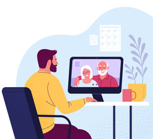 Video Call. Vector Illustration Of A Man Talking With His Elderly Parents Via Computer From Home In Trendy Flat Style. Isolated On Background