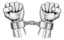 Hands In Metal Chain Shackle H...