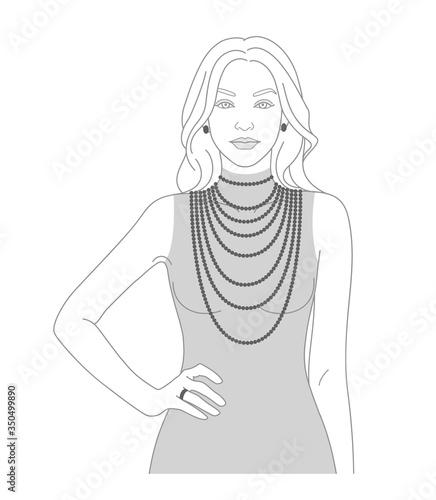 Slika na platnu Necklace size chart with a silhouette of a woman