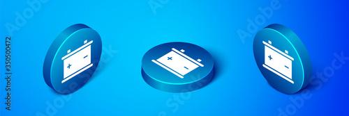 Photo Isometric Car battery icon isolated on blue background