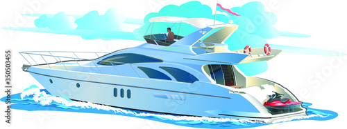 Fototapeta Color vector illustration Yacht against the sky with clouds