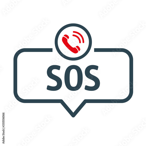 Fényképezés speech bubble SOS EMERGENCY CALL vector illustration with icon