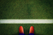 Top View Of Red Soccer Boots O...