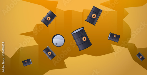 oil barrels falling down in hole abyss decrease of petroleum costs crisis concep Wallpaper Mural